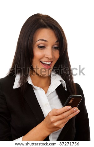 beautiful happy smile businesswoman looking at phone, isolated over white background - stock photo