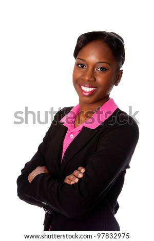 Beautiful happy smiling African business woman in suit and arms crossed, isolated. - stock photo