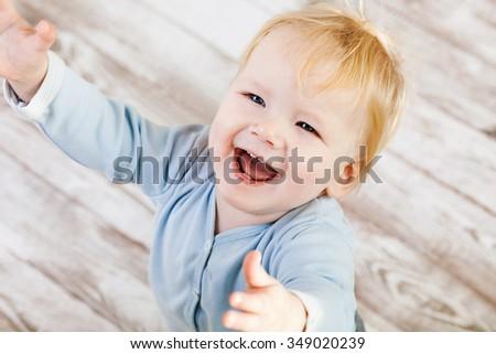 Beautiful happy smiling baby - stock photo