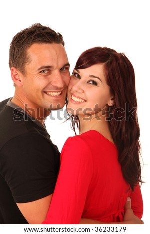 Beautiful happy smiling couple in love isolated on white background