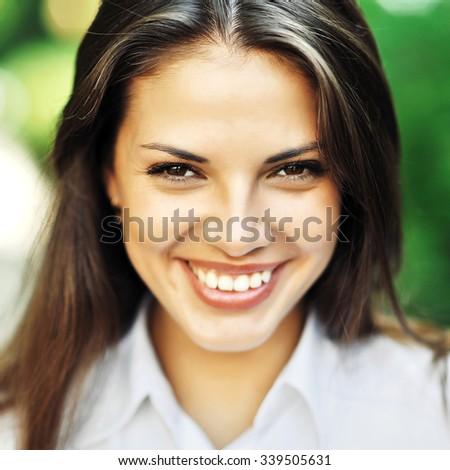 Beautiful happy smiling girl - close up - stock photo