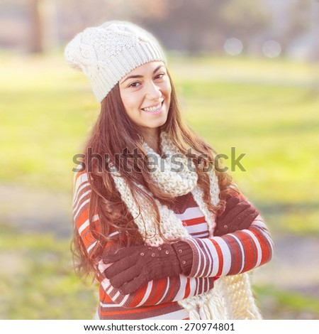 Beautiful Happy Smiling Girl winter autumn season outdoor portrait. Caucasian female carefree lifestyle . - stock photo