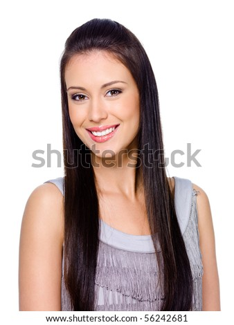 Beautiful happy smiling young woman with dark long straight hair