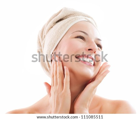 Beautiful Happy Spa Girl Isolated on a White Background.Touching - stock photo