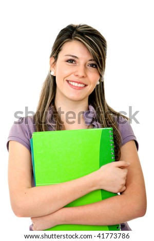 Beautiful happy student with a notebook isolated on white