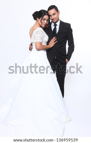 Beautiful Happy Wedding Couple in Love - stock photo