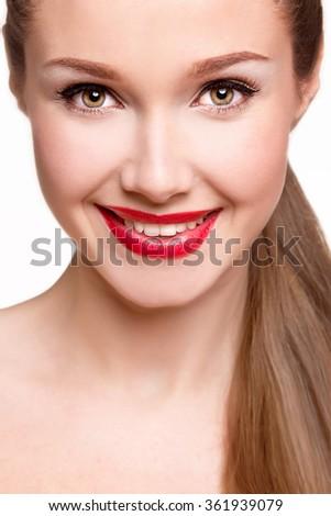 Beautiful happy woman. Beautiful woman smiling - stock photo
