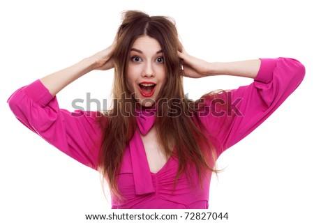 Beautiful happy woman in pink dress - stock photo