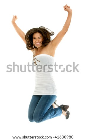 Beautiful happy woman jumping isolated over a white background - stock photo