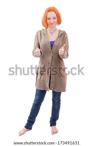 Beautiful happy woman showing thumbs up