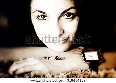 Beautiful happy woman with awful eyes. - stock photo