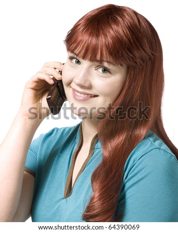 Beautiful happy woman with cell phone - stock photo