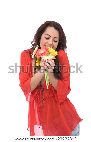 beautiful happy woman with colorful flowers