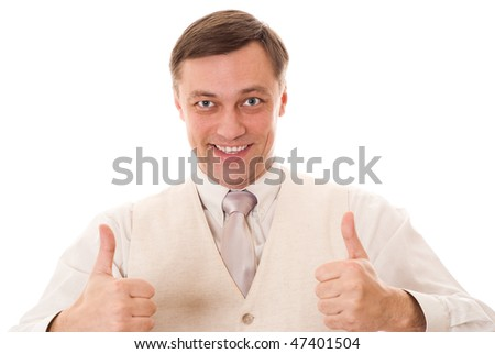 beautiful happy young businessman standing on white background