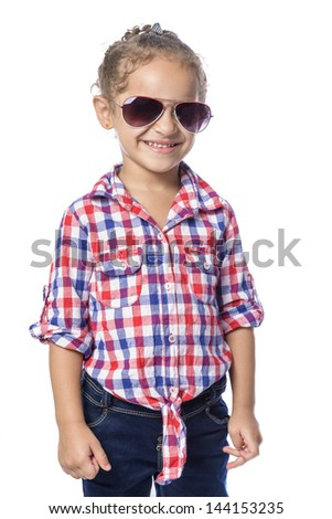 Beautiful Happy Young Girl in Checkered Shirt and Jeans