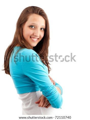 Beautiful happy young girl with tothy smile. Isolated on white background - stock photo