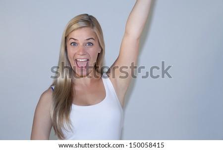 Beautiful happy young woman - stock photo