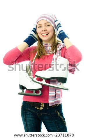 beautiful happy young woman goes ice-skating, isolated against white background