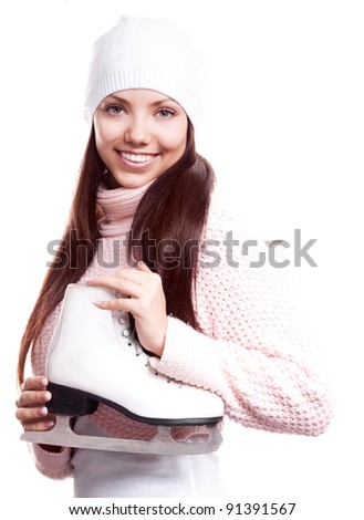 beautiful happy young woman going ice-skating, isolated against white background - stock photo