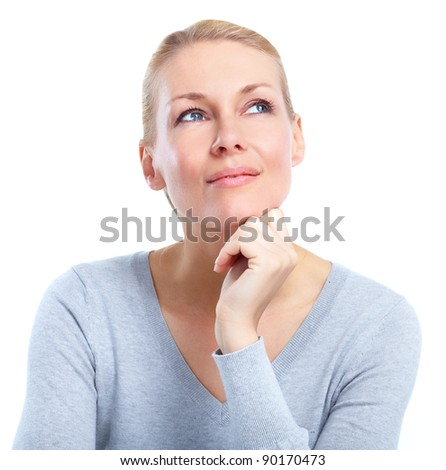 Beautiful happy young woman. Isolated over white background - stock photo