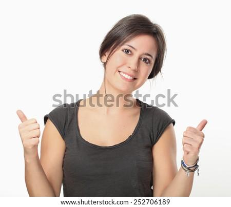 Beautiful Happy Young Woman Portrait. - stock photo