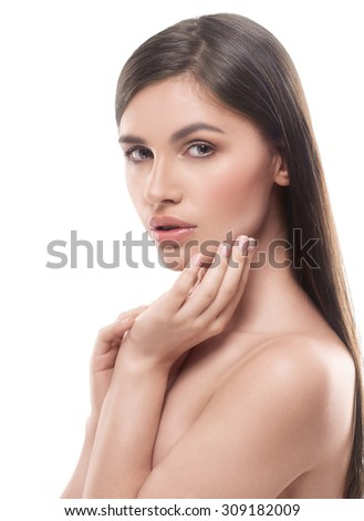 beautiful happy young woman portrait face with sexy lips long hair