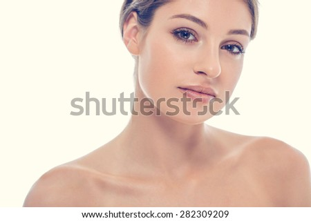 beautiful happy young woman tanned portrait face with sexy lips  - stock photo
