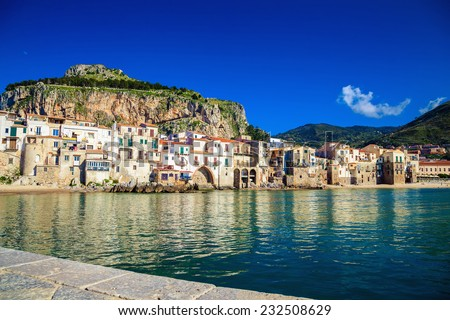 beautiful harbor view of Mediterranean town Cefalu in the province of Palermo, Sicily - stock photo