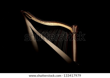 Beautiful harp in dark background - stock photo