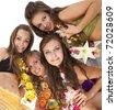 Beautiful hawaiian Hula Dancer Girls - stock photo