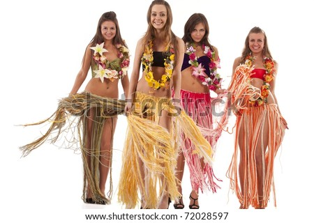 Beautiful hawaiian Hula Dancer Girls - stock photo
