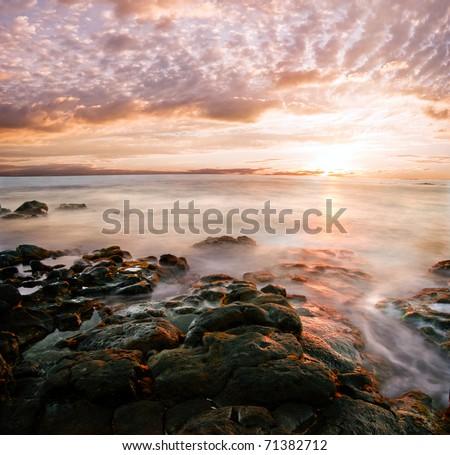 Beautiful Hawaiian Sunset - stock photo