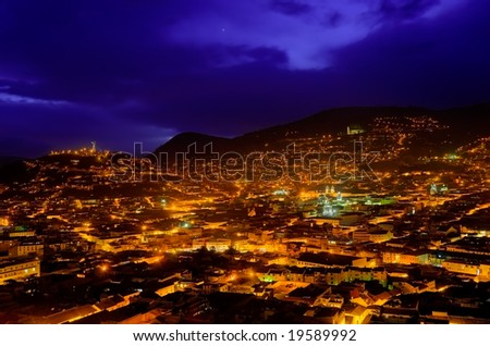 beautiful hdr image of colonial quito in ecuador - stock photo