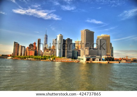 Beautiful HDR image of Downtown Manhattan, New York City on a deep blue sky - stock photo