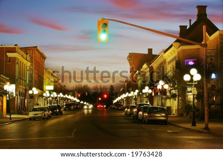 Beautiful HDR scene of a small town at night - stock photo