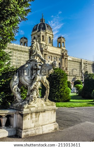 Beautiful HDR view of famous Naturhistorisches Museum (Natural History Museum) with park and sculpture in Vienna, Austria  - stock photo