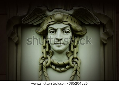 Beautiful head of Mercury (Hermes) ,ancient god of commerce in greek and roman mythology ,old architectural decoration,art nouveau style