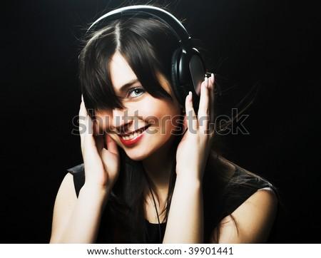 Beautiful Headphones Girl - stock photo