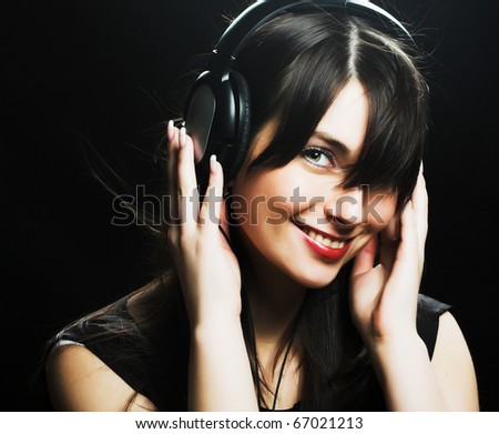 Beautiful Headphones Girl - stock photo