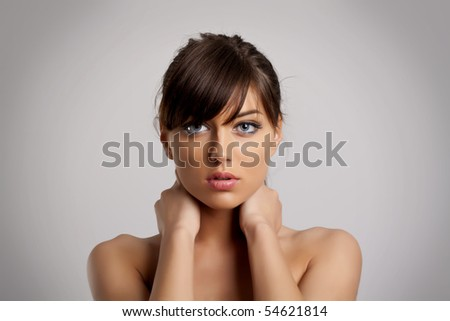 Beautiful health woman face with clean purity skin - isolated - stock photo