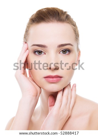 Beautiful health woman face with clean purity skin - isolated on white - stock photo