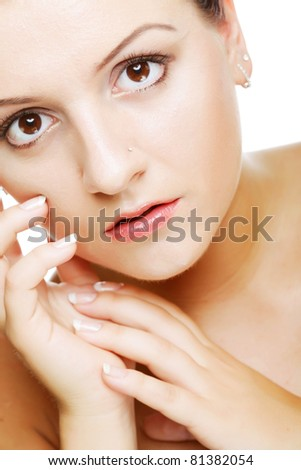 Beautiful health woman face with clean purity skin - isolated on white
