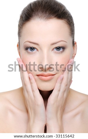 beautiful healthy clean young female face - close-up - stock photo