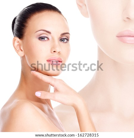Beautiful healthy  face of the young pretty white woman with fresh skin - isolated on white - stock photo