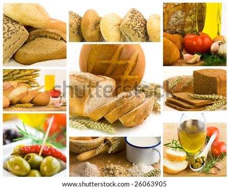 beautiful healthy food collage made from nine photographs - stock photo