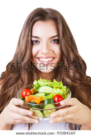 beautiful healthy friendly woman with salad on white background