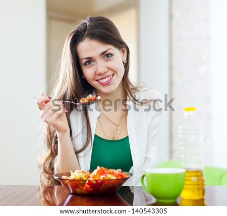 beautiful healthy girl eating  lunch - stock photo
