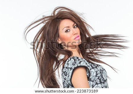 Beautiful Healthy Girl with hair motion - stock photo