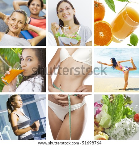beautiful healthy lifestyle theme collage made from few photographs - stock photo