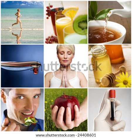 beautiful healthy lifestyle theme collage made from nine photographs
